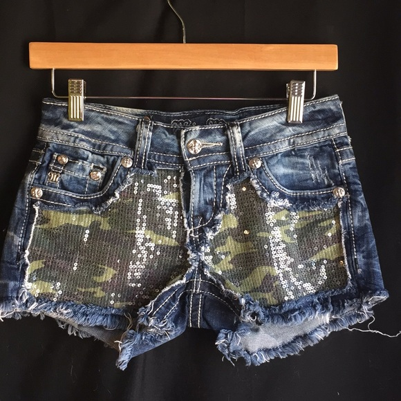 Miss Me Shorts Camo Sequin Poshmark